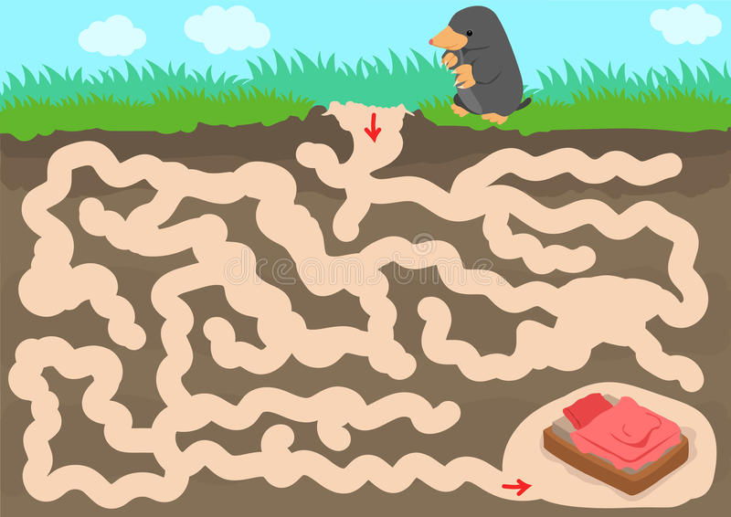 Vector maze game with find mole room stock illustration