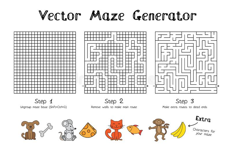 Vector Maze Game Generator stock photo