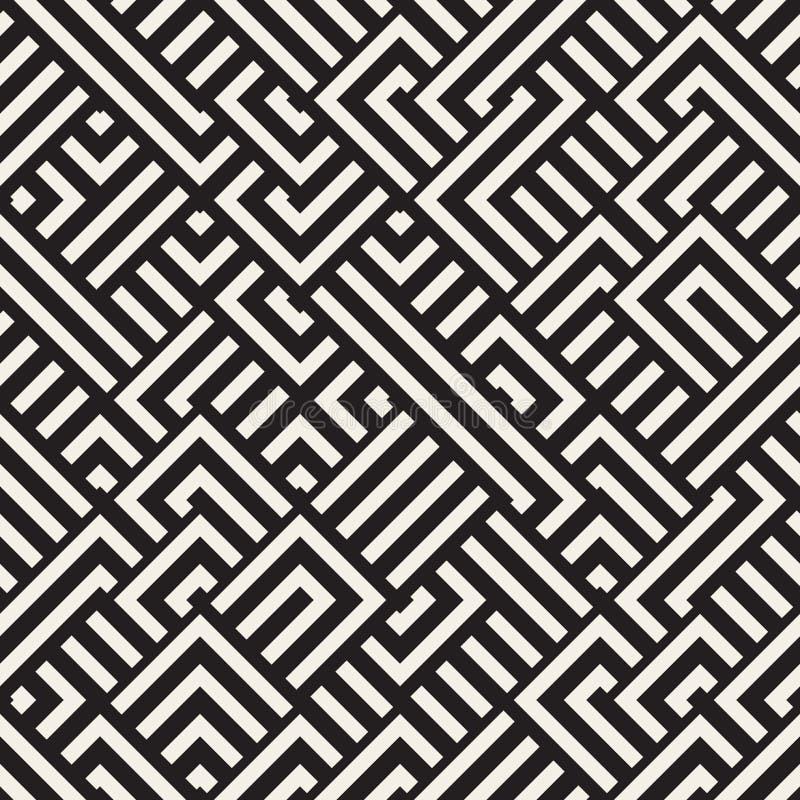 Vector Maze Lines Geometric Pattern diagonal blanco y negro inconsútil ilustración del vector