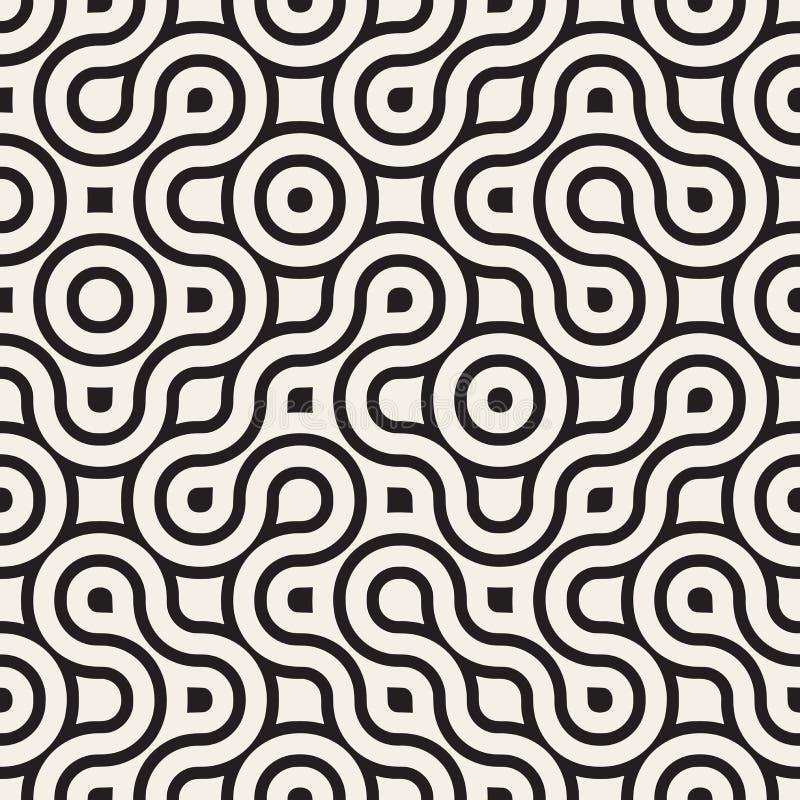 Vector Maze Lines Pattern irregular redondeado blanco y negro inconsútil stock de ilustración