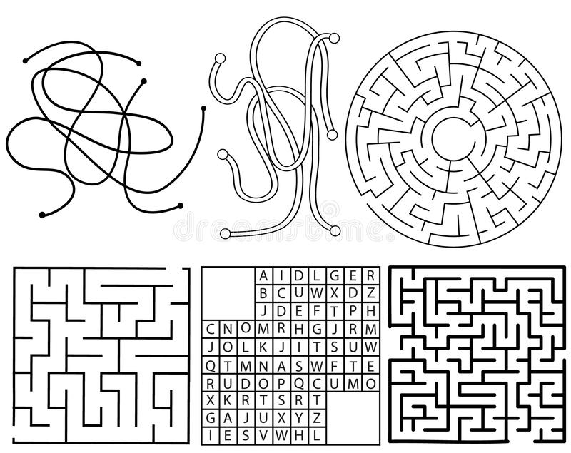 Vector maze template. ABC, thread, circle and square labyrinth sample vector illustration