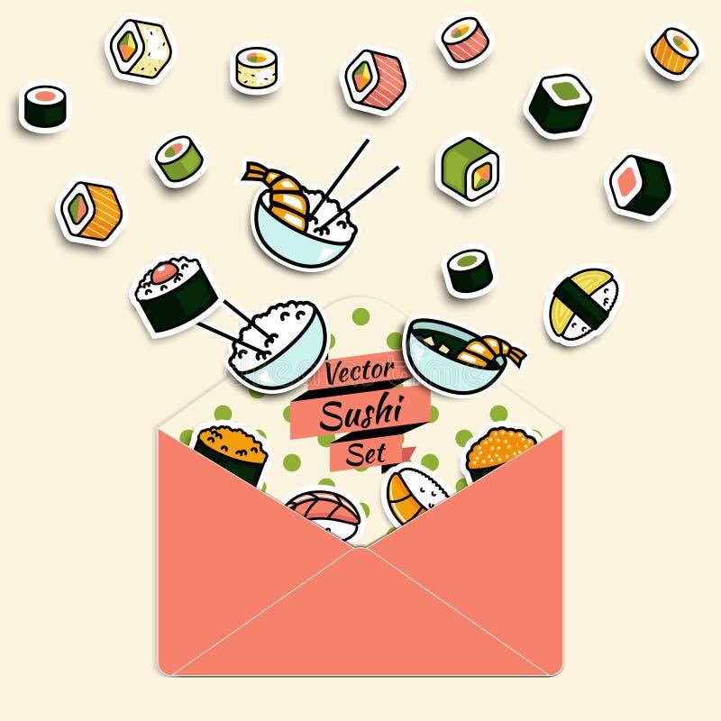 Vector meal rolls sushi set in paper mail envelope stock illustration