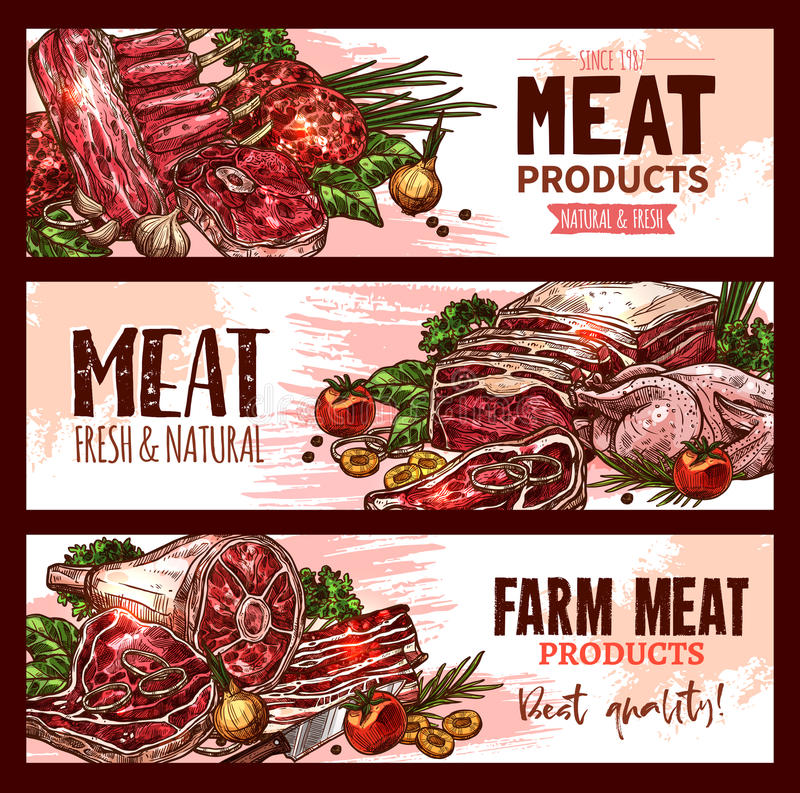 Vector meat product banners for butchery shop. Butchery shop meat product banners set for farmer market. Vector design of meat brisket, ribs and chicken or stock illustration