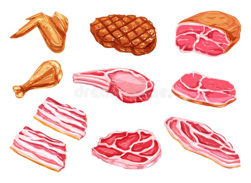 Vector meat products watercolor paint icons. Meat watercolor paint vector icons. Beefsteak, barbeque grill brisket and bbq chicken legs or wings, beef tenderloin stock illustration