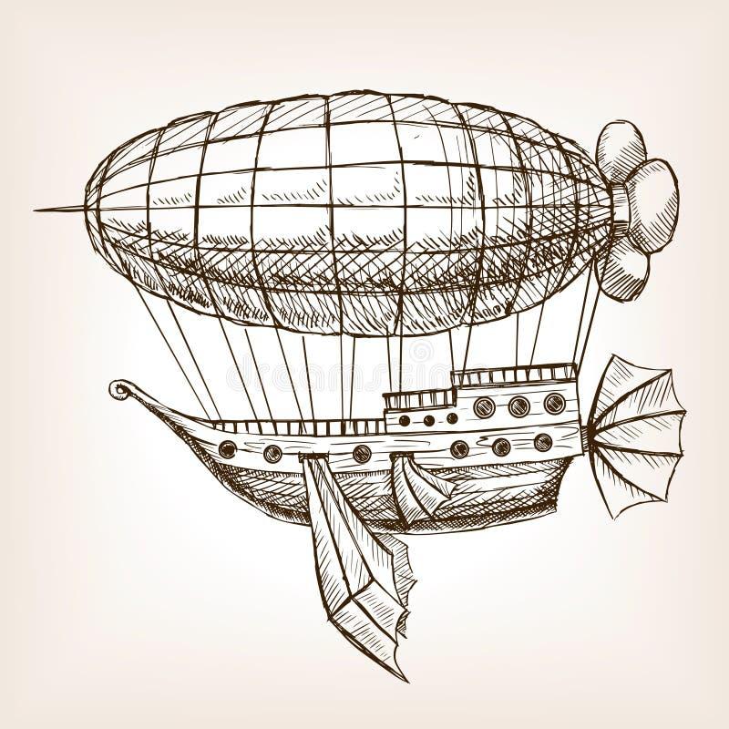 Vector mecánico del bosquejo del dirigible del vuelo de Steampunk stock de ilustración