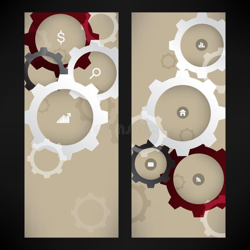 Vector mechanische de elementenachtergrond van wieleninfographics stock illustratie