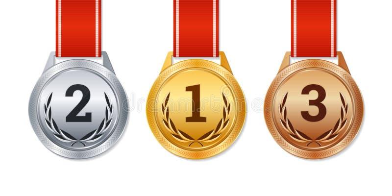Vector medalhas isoladas do ouro, as de prata e as de bronze, prêmios do campeão, ilustração do vetor