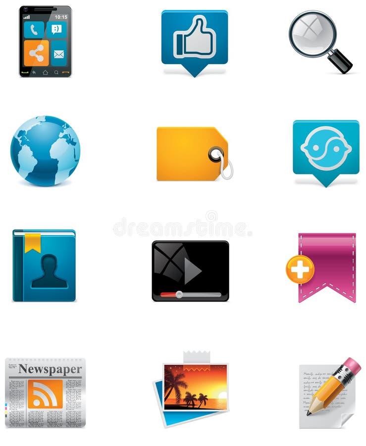 Vector mededeling en sociale media pictogramreeks. Pa royalty-vrije illustratie