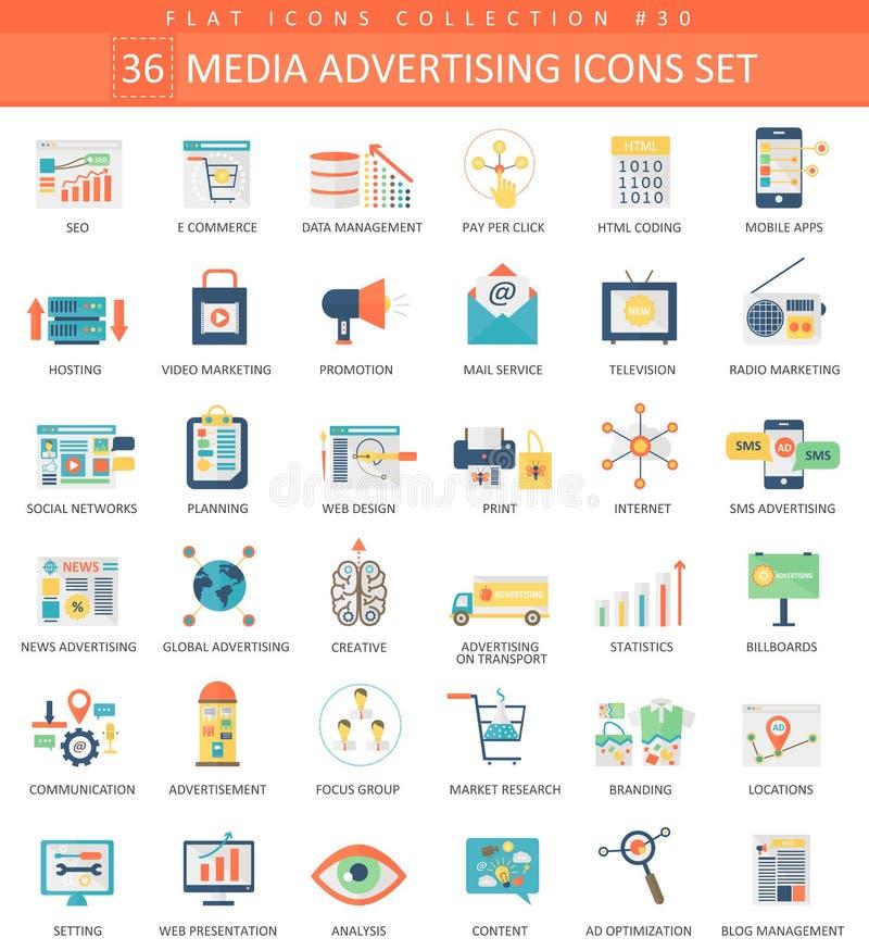 Vector Media advertising color flat icon set. Elegant style design. Vector Media advertising color flat icon set. Elegant style design royalty free illustration