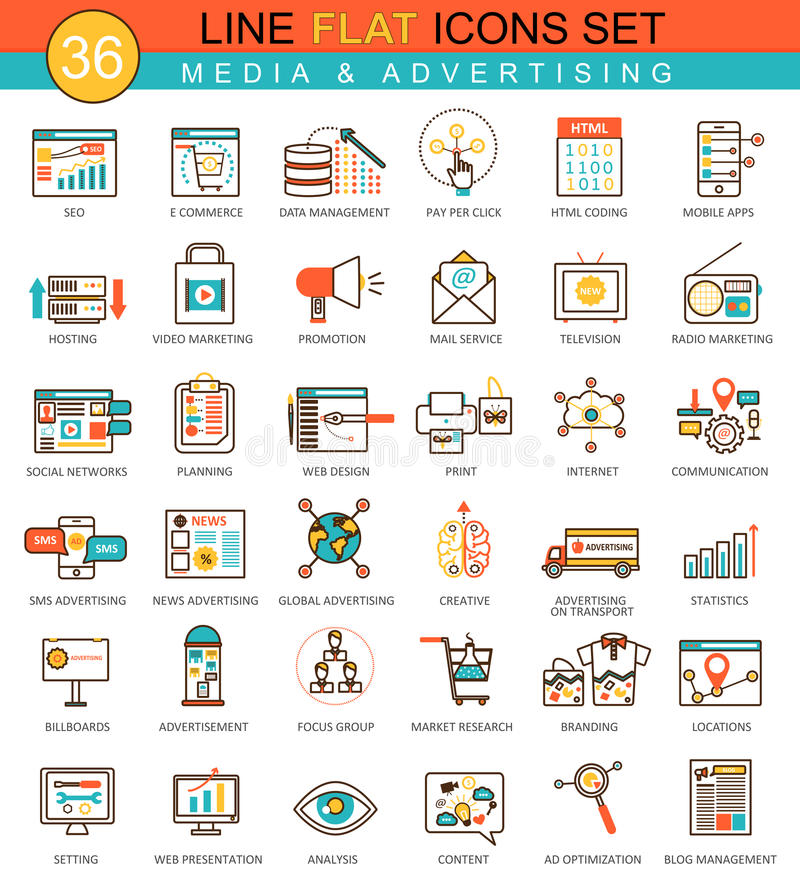 Vector media advertising flat line icon set. Modern elegant style design for web. stock illustration