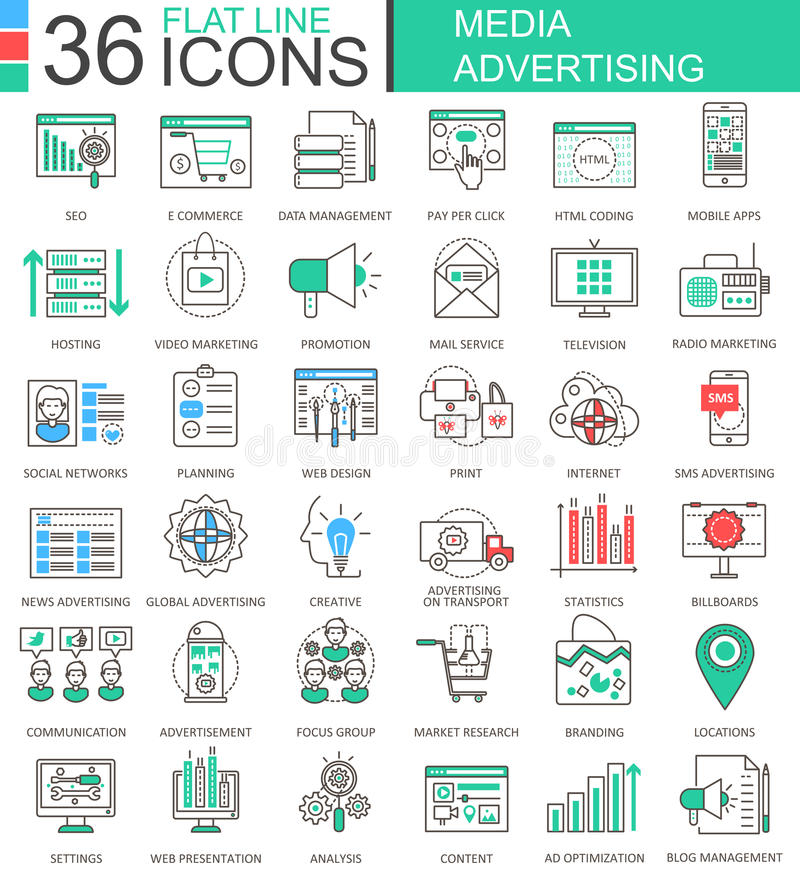Vector Media advertising modern color flat line outline icons for apps and web design. Vector Media advertising modern color flat line outline icons for apps vector illustration