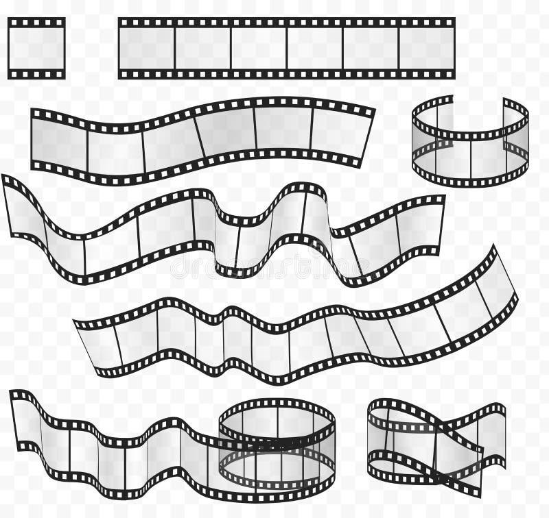 Vector media film strips roll set. Negative and strip film 35mm. stock illustration