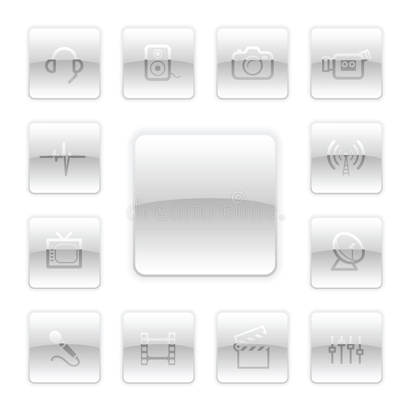 Download Vector Media Icon Set stock vector. Image of modern, internet - 9094288