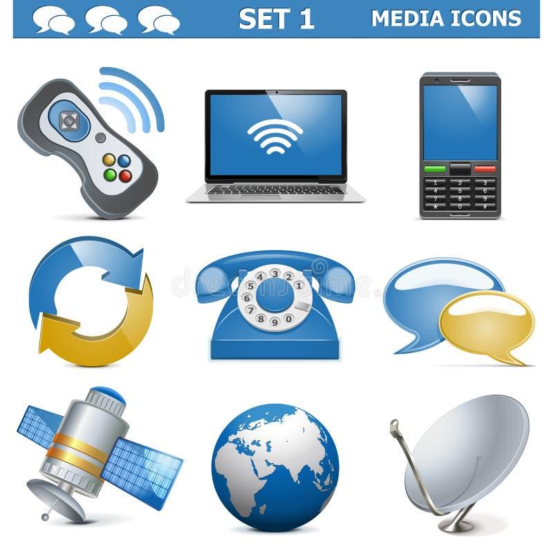 Vector Media Icons Set 1 Stock Image
