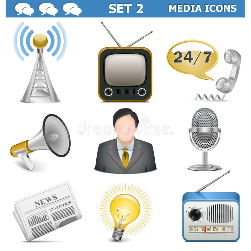 Download Vector Media Icons Set 2 stock vector. Image of idea - 33688516
