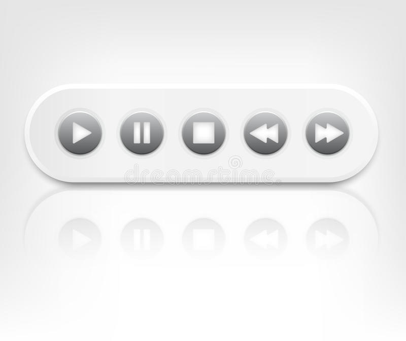 Vector Media Player Interface With Reflection Stock Photo