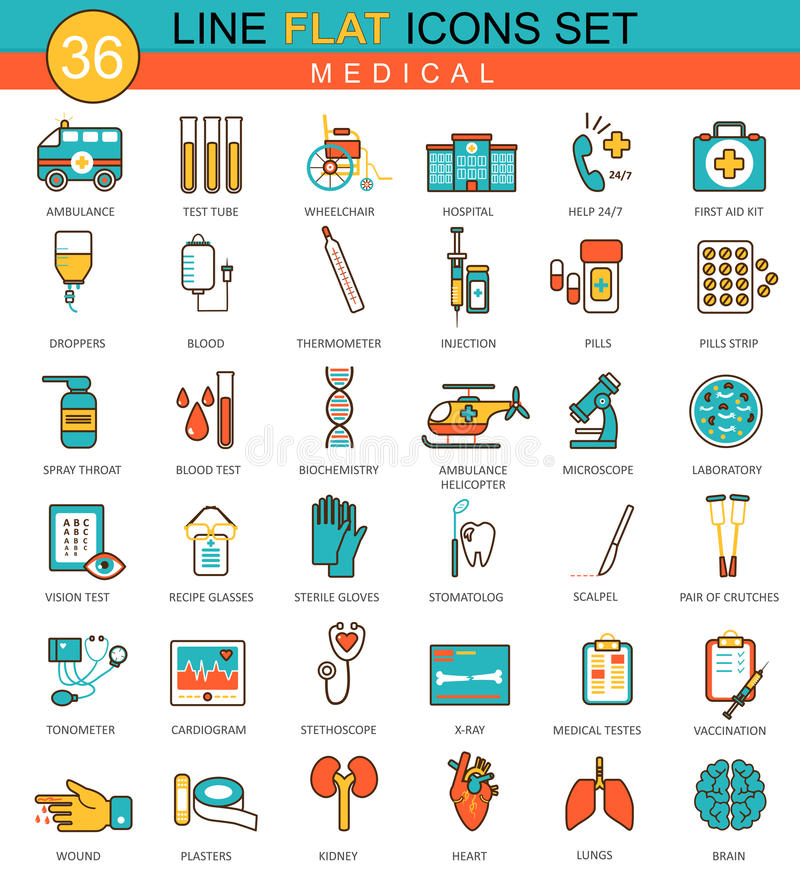 Vector Medical Medicine flat line icon set. Modern elegant style design for web. royalty free illustration