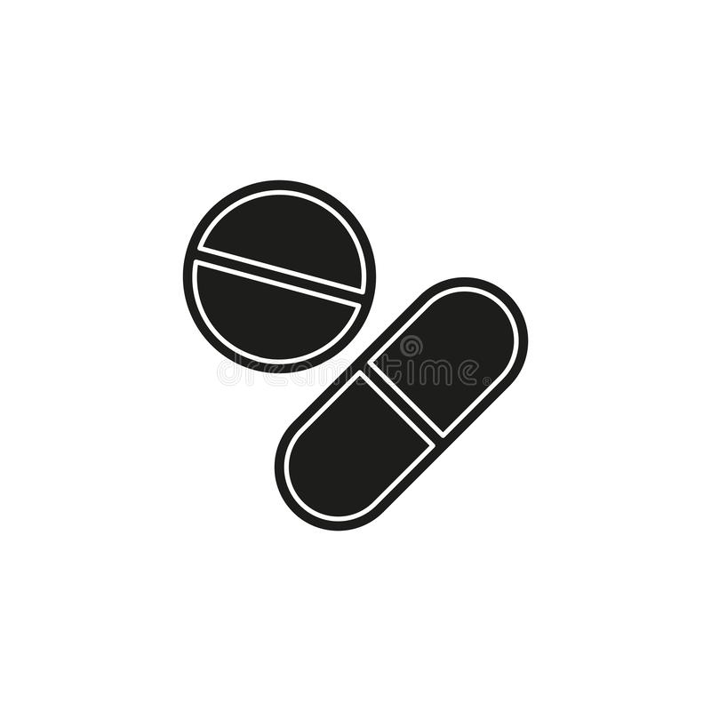 Vector medical pills - medicine icon, capsule and drug - healthcare icon royalty free illustration