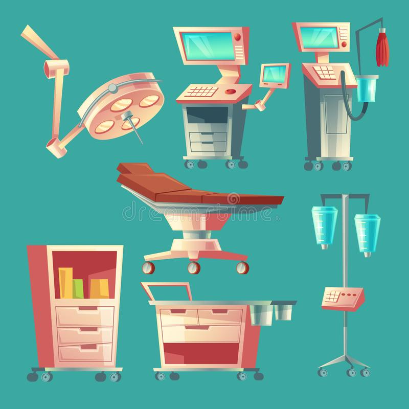 Vector medical surgery set, cartoon hospital equipment. Medicine life support system with lamp for emergency. Clinic stuff, surgical operating elements vector illustration