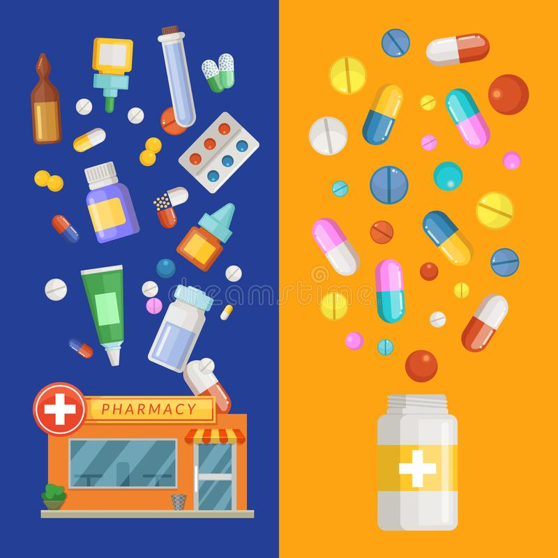 Vector medicines vertical banner templates with medicines and pills spreading out of pharmacy and bottle. Pharmacy and drug in bottle banner, medication and royalty free illustration