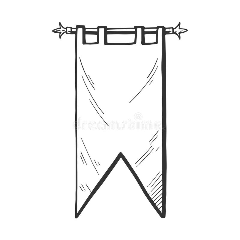 Medieval banner or flag. Vector medieval banner or flag icon. Middle age hand drawn illustration emblem in vintage style vector illustration