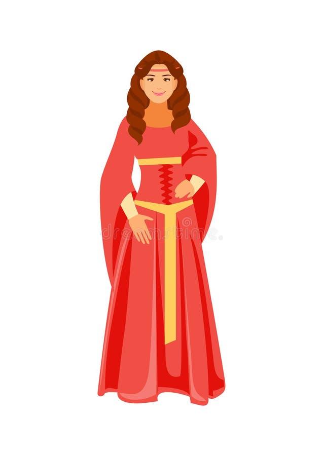 Vector medieval de la muchacha libre illustration