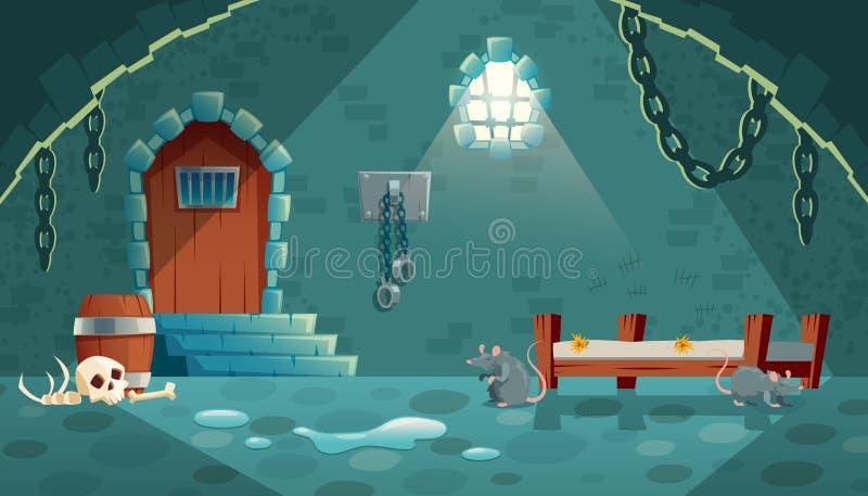 Vector medieval prison cell, game background. Vector concept illustration with medieval prison cell for criminals. Castle dungeon, room for prisoners, interior stock illustration