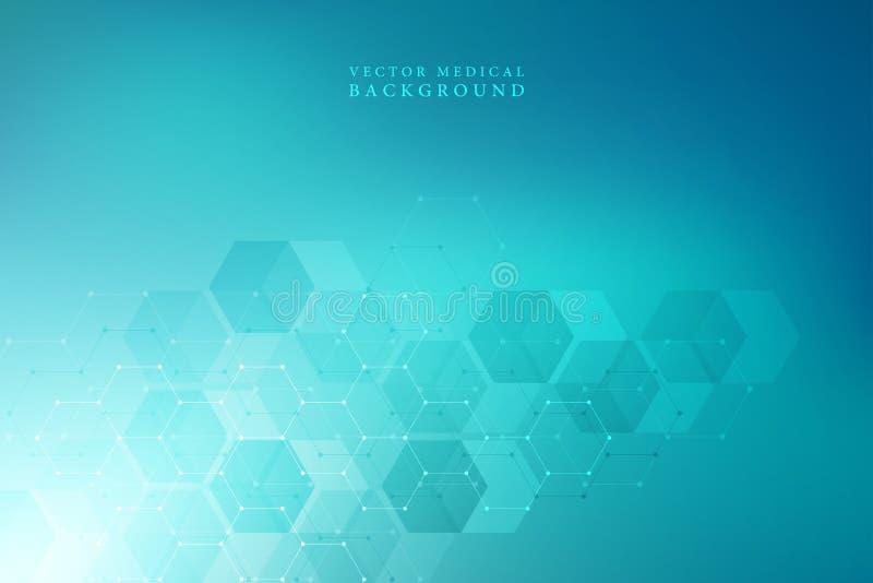 Vector medische achtergrond van zeshoeken Geometrische elementen van ontwerp voor moderne mededelingen, geneeskunde, wetenschap e vector illustratie