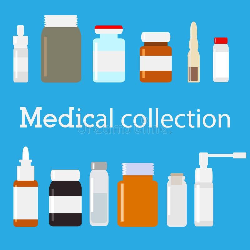Vector medische flesseninzameling Minimale vlakke illustratie Geneeskundereeks vector illustratie