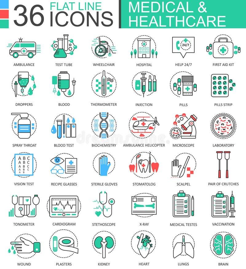 Vector medische van de de kleuren vlakke lijn van de gezondheidszorggeneeskunde moderne het overzichtspictogrammen voor apps en W vector illustratie