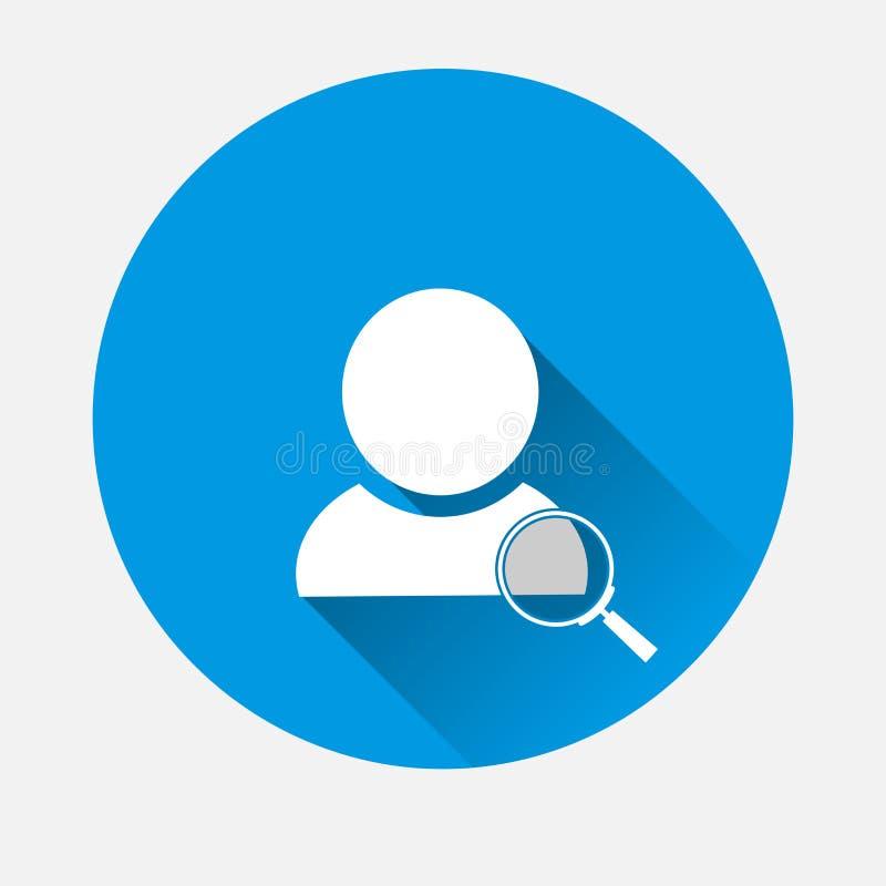 Vector meer magnifier Zoekpictogramglas en avatar pictogram op blauwe backg stock illustratie