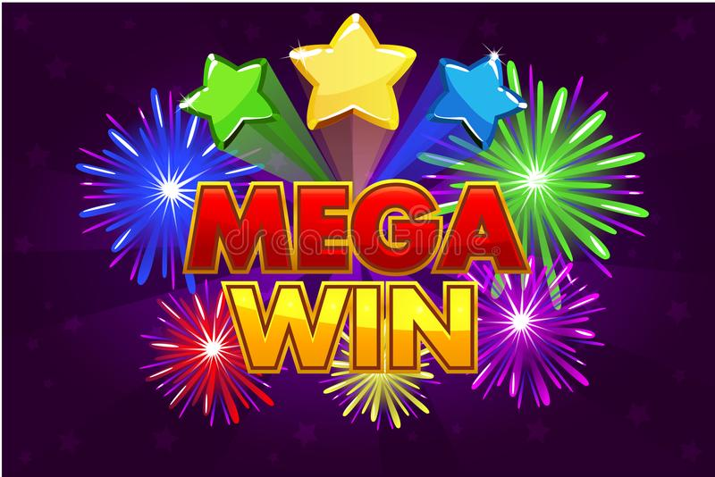 Vector Mega big win banner for lottery or casino games. Shooting colored stars and firework vector illustration