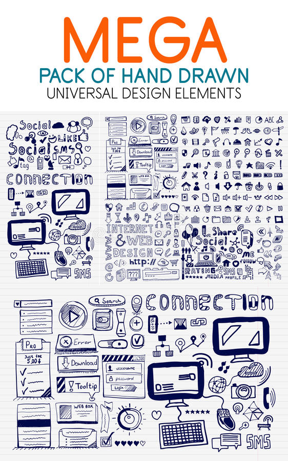 Vector mega collection of hand drawn technology elements stock illustration