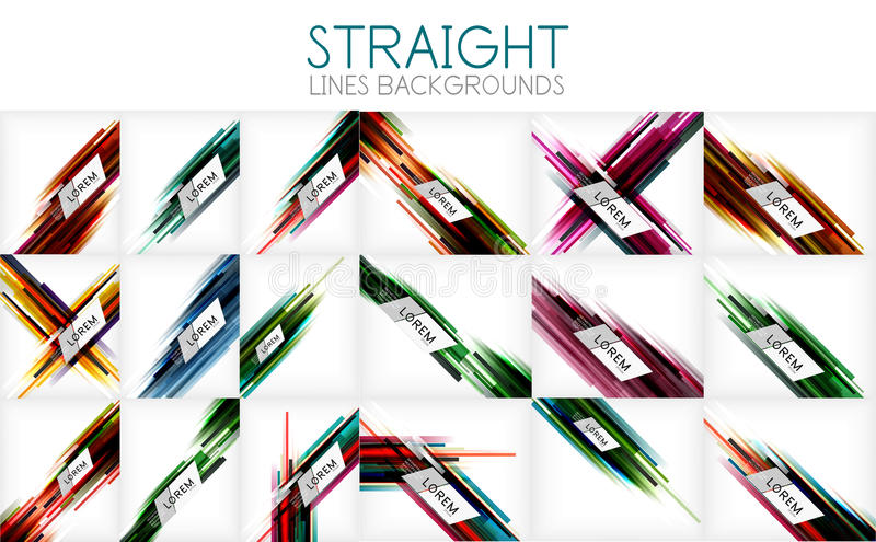 Vector mega collection of straight line abstract backgrounds and templates for your text royalty free illustration