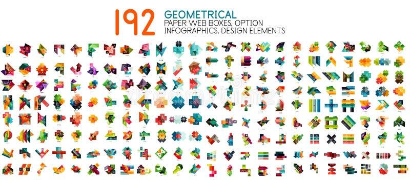 Vector Mega- Sammlung geometrische Papierartfahnenschablonen lizenzfreie abbildung