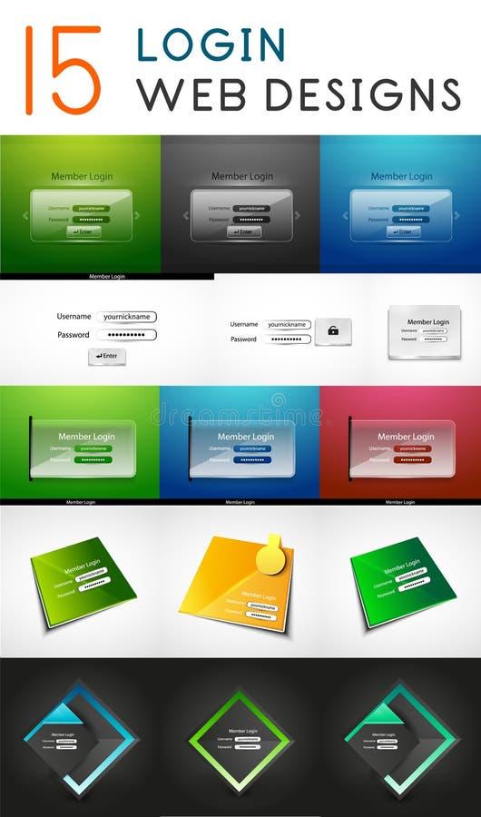 Vector mega set of login web design elements royalty free illustration