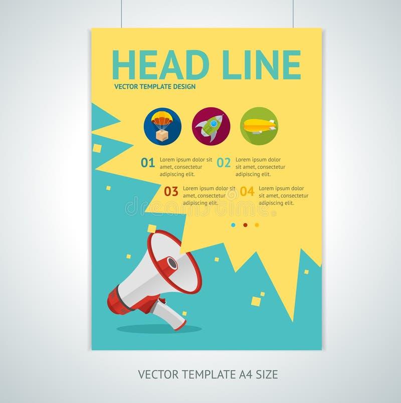 Vector megaphone brochure flyer design templates royalty free illustration