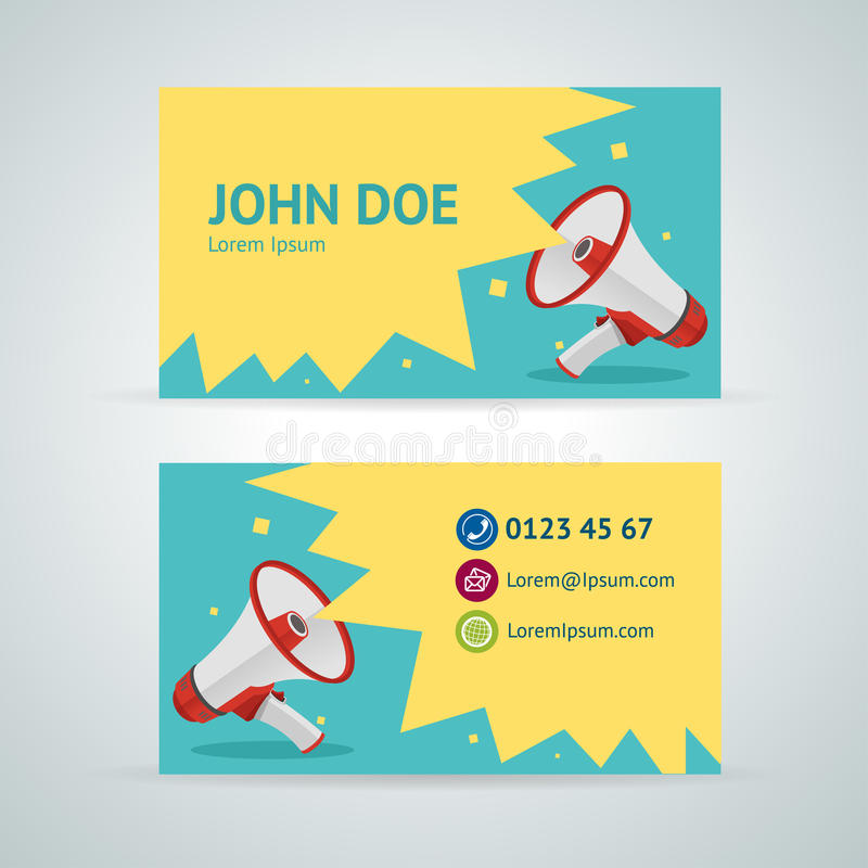 Download Vector Megaphone Business Card Template Stock