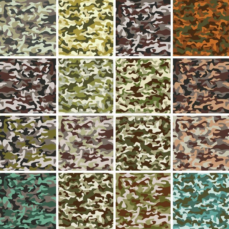 Vector Megareeks van Naadloos Camouflagepatroon stock fotografie