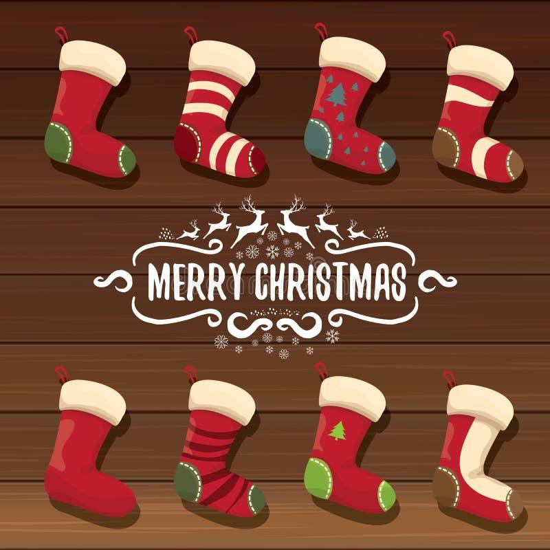 Vector a meia bonito ou as peúgas do Natal dos desenhos animados com ornamento da cor ilustração royalty free