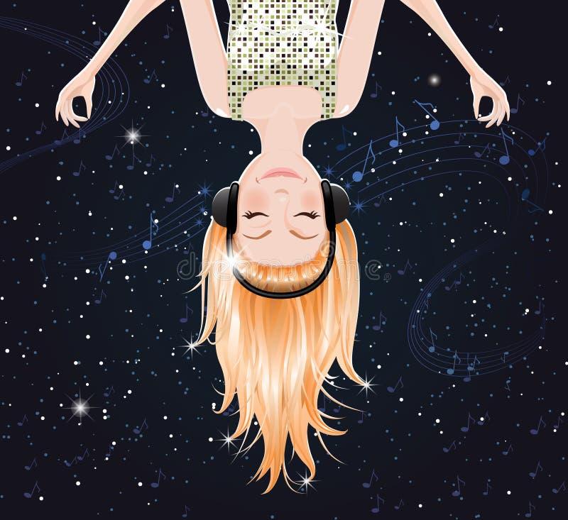 Vector meisje dat aan muziek van ruimte luistert. eps10 stock illustratie