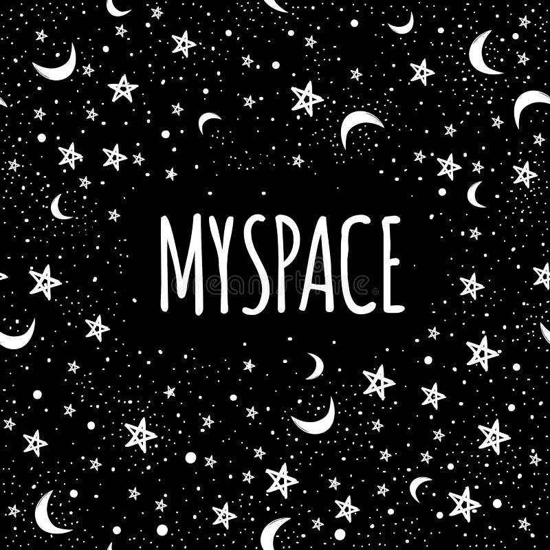 Vector in Melkwegillustratie Mijn Ruimte Krabbelart. Tatoegering, astrologie, alchimie, de achtergrond van het magische, ruimte e vector illustratie