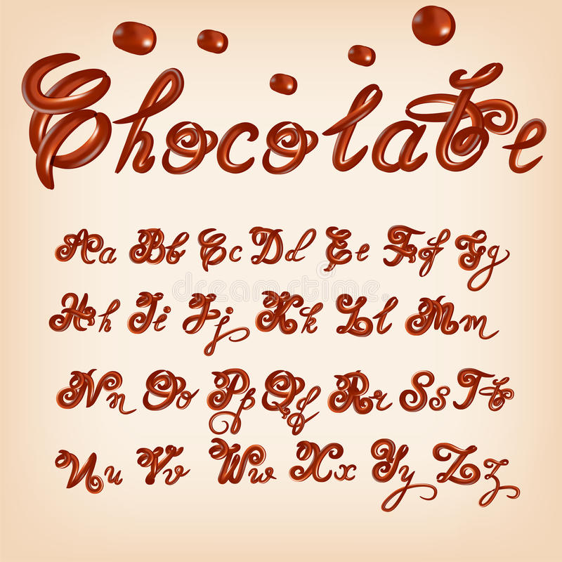 Vector melted chocolate alphabet. Shiny, glazed letters, liquid. Font style. Glossy typescript design. stock illustration