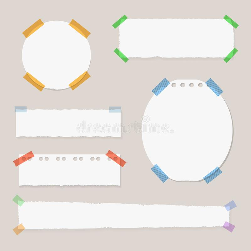 Vector Memo Stickers Set, Isolated Group of Objects, Attached by Adhesive Tape. Vector Memo Stickers Set, Isolated Group of Objects, Attached by Adhesive Tape vector illustration