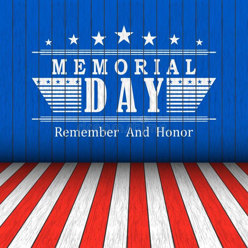Vector Memorial Day -Hintergrund mit Sternen und Beschriftung auf Blau-, Rotem und weißemhölzernem Hintergrund Schablone für Denk lizenzfreie abbildung