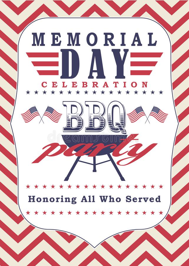 Vector Memorial day poster template. Memorial day celebration and bbq party background. Memorial day poster template. Memorial day celebration and bbq party stock illustration