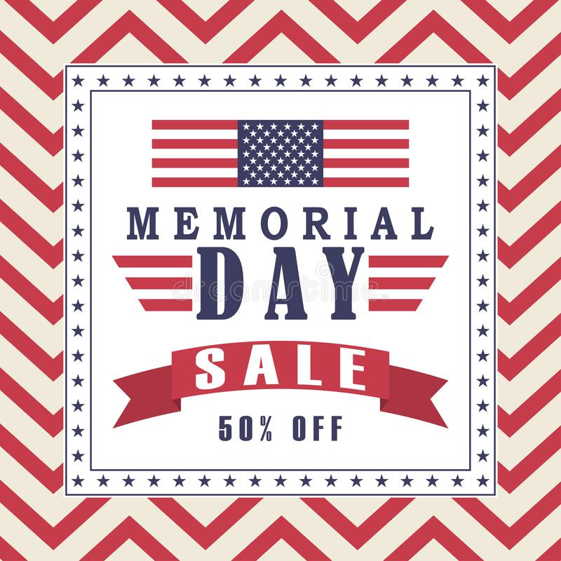 vector memorial day sale background with stars ribbon and lettering