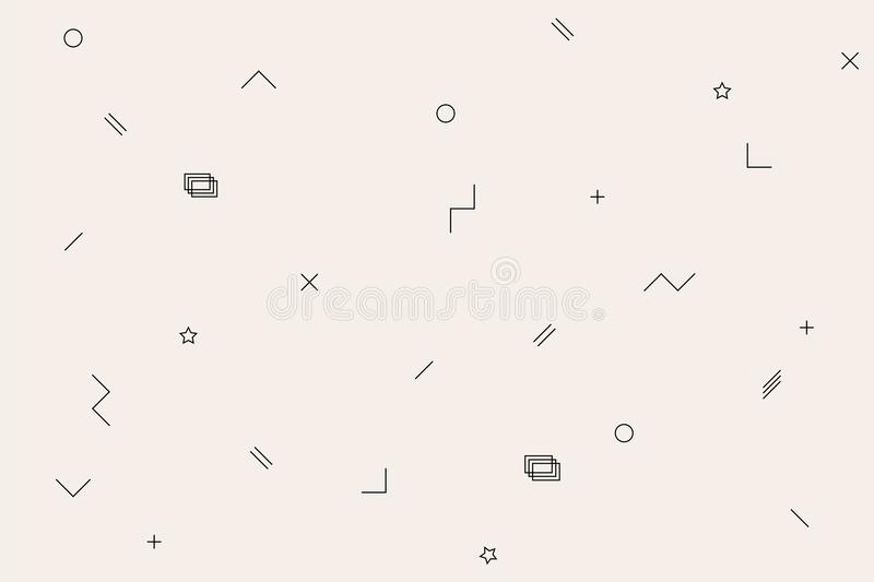 Vector memphis pattern with black and white geometrics figures : a square, a line, a circle, a star. Hipster style royalty free illustration