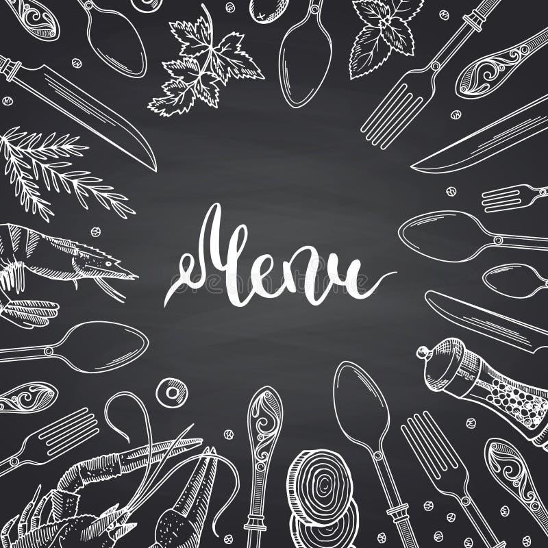 Vector Menühintergrund auf schwarzer Tafelillustration mit Hand gezeichneten Geschirr- und Lebensmittelelementen, Gewürze mit Pla stock abbildung