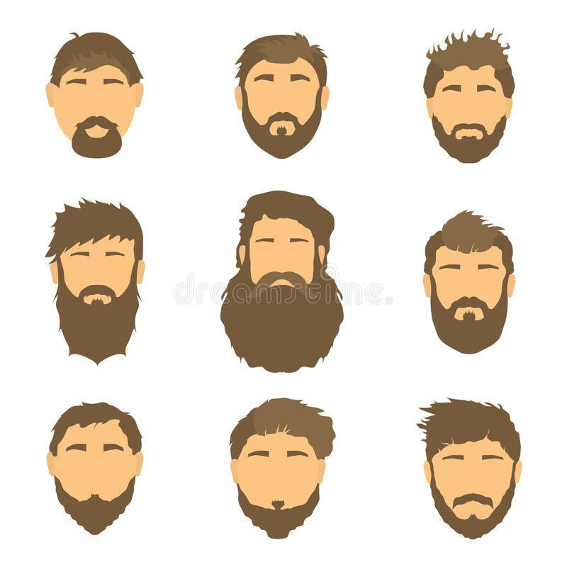Vector men's hairstyle, illustration, hair on white background. stock photos
